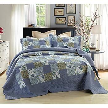Amazon.com: Tache Floral Cotton 3 Piece Colorful Flower Power ... : quilt cal king - Adamdwight.com