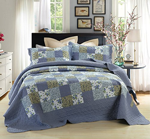 Cotton Patch Bedding - Dada Bedding Reversible Patchwork Plaid Floral Blueberry Patch Coverlet Bedspread Quilt Set, Navy Blue, King, 3-Pieces