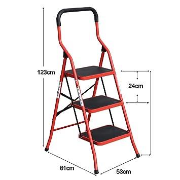 YXX- Taburete plegable de hierro grande para sillas de adultos Escalera antideslizante con ruedas antideslizantes Escabel portátil de exterior / escaleras ...