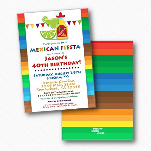 mexican fiesta printed birthday party invitations envelopes included - Mexican Party Invitations