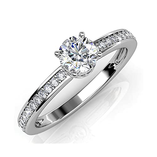 ed9a4c85cbbd9 Amazon.com: FAPPAC Round Solitaire Ring Band Enriched with Swarovski ...