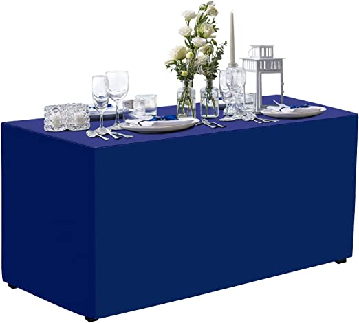 6 ft SILVER FITTED POLYESTER TABLE COVER Wedding Party Tradeshow Tablecloths