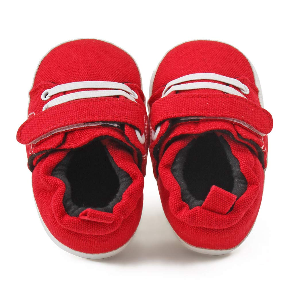 Kimanli Newborn Baby Girls Boys Canvas Sneaker Anti-slip First Walkers Soft Sole Shoes