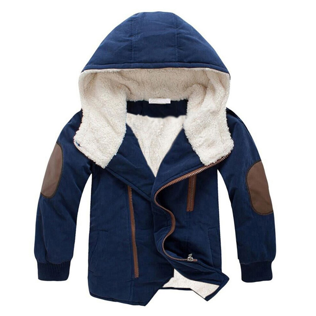 Gaorui Boys Winter Hooded Down Coat Jacket Thick Wool Inside Kids Warm Faux Fur Outerwear Coat