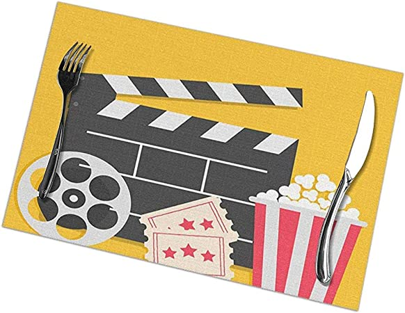 Juego de manteles individuales de 6 para mesa de comedor; Holiday Placemats Big Movie Clapper Board Popcorn Box Ticket Three Star Cinema Yellow: Amazon.es: Hogar