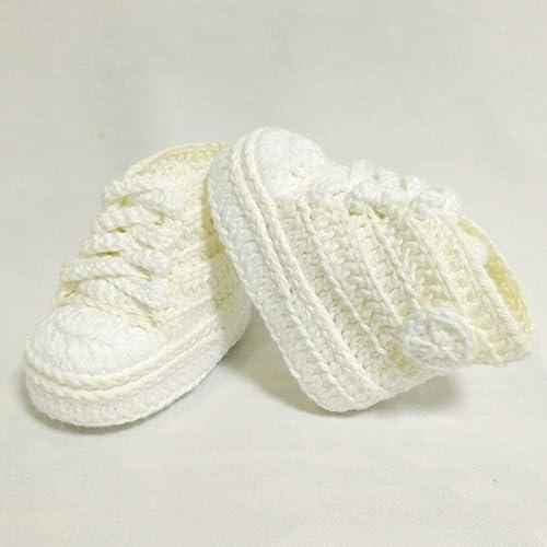 Patucos para Bebé, tipo Converse, 3-6 meses, Beige. Hecho a Mano. España: Amazon.es: Handmade