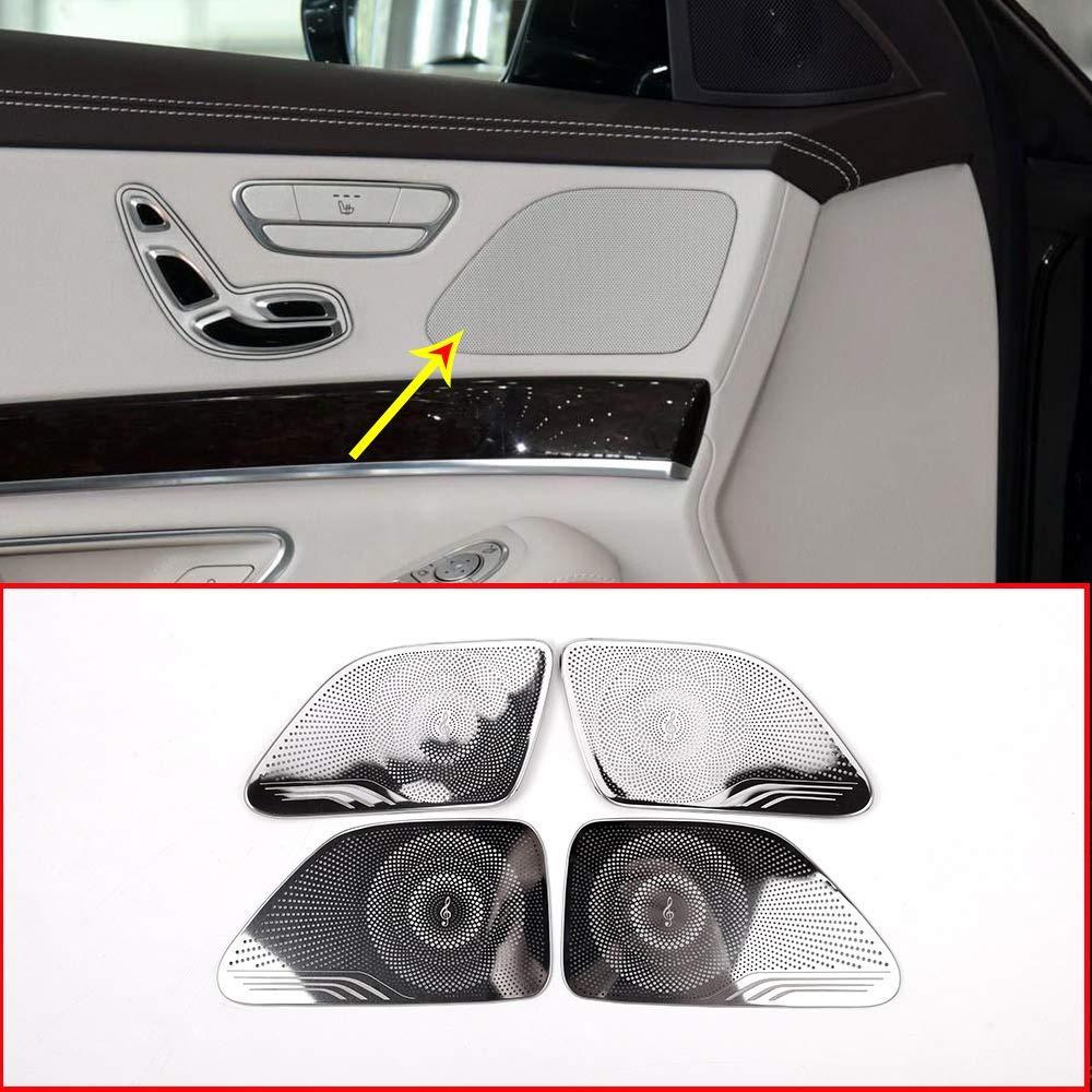 Aluminum Alloy Car Door Speaker Cover Trim for Mercedes Benz S Class W222 2014-2018 Accessories shiny silver