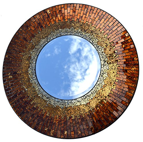 Lulu Decor, Baltic Amber Mosaic Wall Mirror, Decorative Handmade Beveled Round Mirror, Diameter 23.5, Mirror 11.5 Perfect for Housewarming Gift. (LP…
