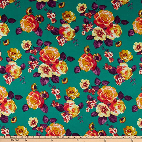 Techno Scuba Knit Floral Yellow/Green Fabric by the Yard ()