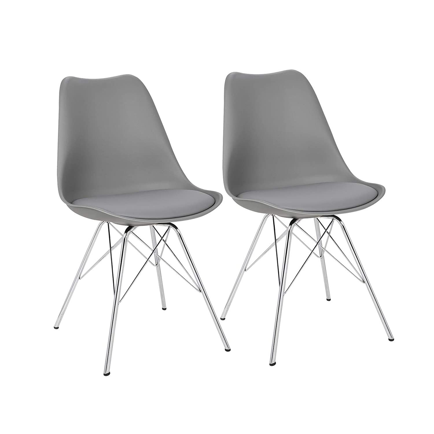 Llivekit Dining Chairs Grey Soft Cushions Modern Kitchen Chairs With Chrome Steel Legs Home Kitchen Furniture