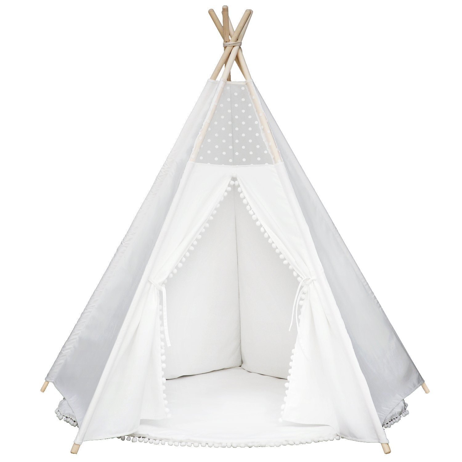 Wonder Space Princess Teepee Pompon Fairy Tent - 5u0027 Large Handcrafted White Lace Pom Pom Cotton Canvas Play Tent Kids Playhouse Five-Sided Walls with Door ...  sc 1 st  Amazon.com & Amazon.com: Wonder Space Princess Teepee Pompon Fairy Tent - 5 ...