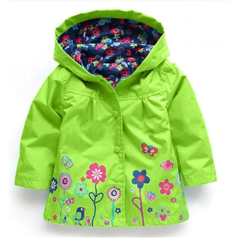 AMSKY Baby Clothes Girl 18 Months,Girls Clothe Jacket Kids Raincoat Coat Hoode Outerwear Children Clothing Jacket,Mint Green,130