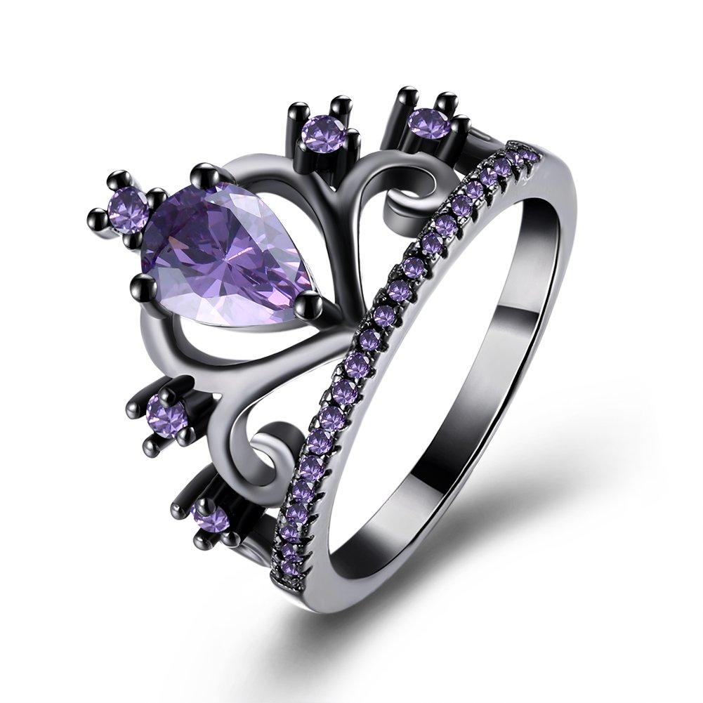 LuckyWeng Women's New Exquisite Fashion Jewelry Gun Black Crown Purple Diamond Zircon Ring