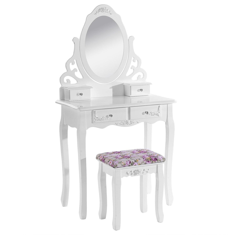 WOLTU MB6024cm Coiffeuse table de maquillage avec miroir et tabouret 4 tiroirs en MDF et en bois de pin massif blanc