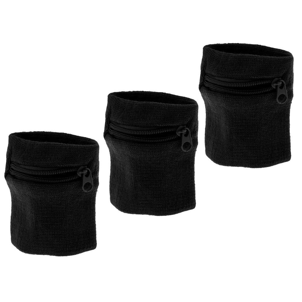 perfeclan 3pcs Handgelenk Tasche Schwei/ßband Armtasche Sport Rei/ßverschlusstasche Schwarz f/ür Herren Damen