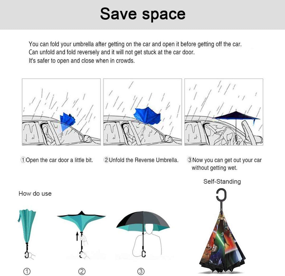 Naruto Car Reverse Umbrella Windproof And Rainproof Double Folding Inverted Umbrella With C-Shaped Handle UV Protection Inverted Folding Umbrellas