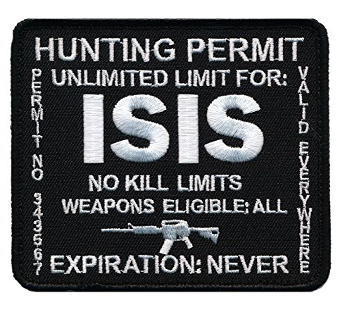 Patch Squad Men's ISIS Hunting Permit Military Patch (Black)