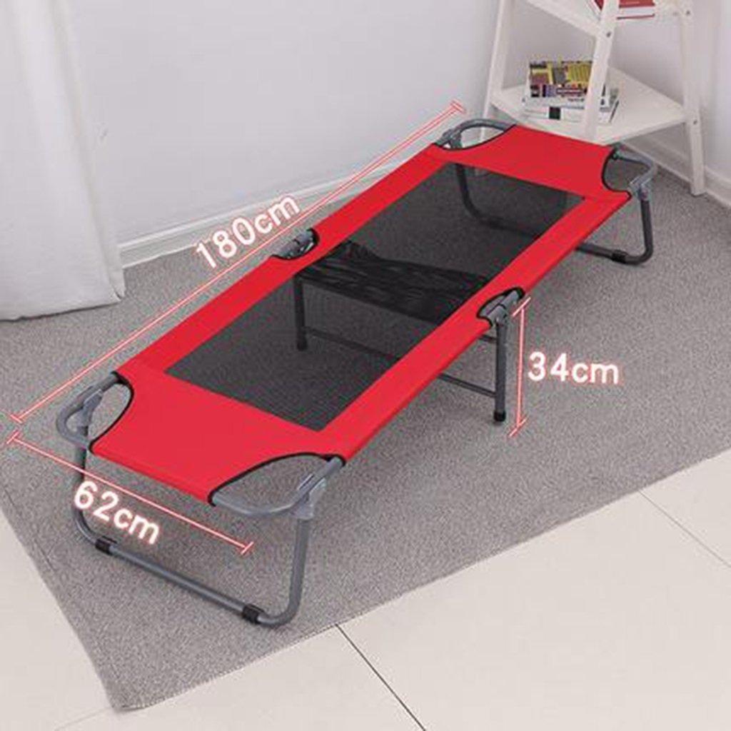 Büro Klappbett Einzelbett Siesta Siesta Bett einfaches Tuch Bett Camping Bett begleitenden Bett 180  62  34 cm ( Farbe : ROT )