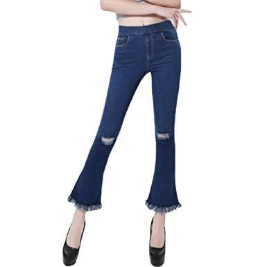 d1037677f694a8 VMANNER Women's Bell-Bottom Hole Jeans Crop Fringe Flared Jeans at Amazon  Women's Jeans store
