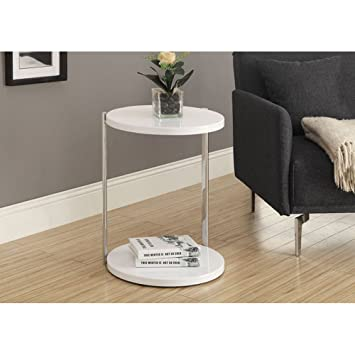 Monarch Metal Accent Table, White/Chrome