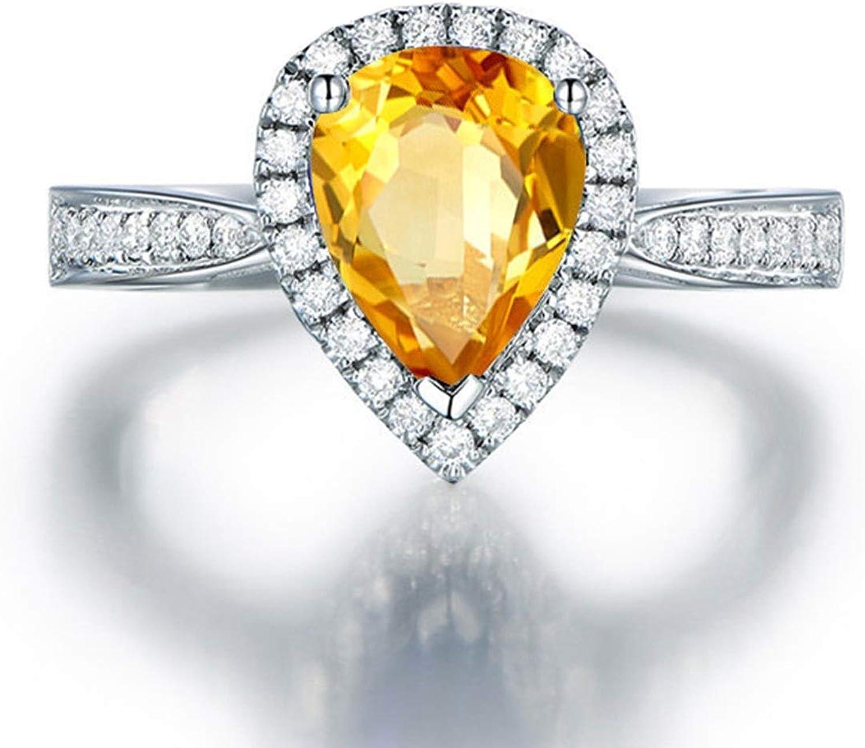 AMDXD Jewellery 925 Sterling Silver Wedding Rings Women Pear Cut Cubic Zirconia Teardrop Ring