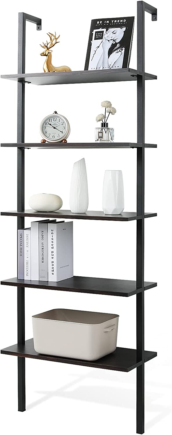 Haton Ladder Bookshelf, 5 Tier Modern Black Bookcase, Open Ladder Shelf with Stable Metal Frame, 70.86 Inches Display Wood Shelving Unit Storage Rack Against Wall for Home Office