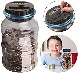 DreamJane Digital Coin Counter Savings Jar, 2.5L Piggy Bank Digital Coin Bank with LCD Screen, Automatic Counting All US Coins for Home Office Kids Gifts (Blue)