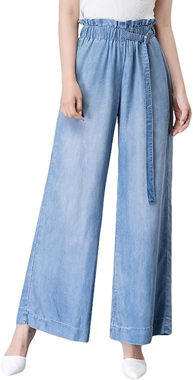 Xinwcanga Mujer Verano Casual Rectos Cintura Alta Flojos Pantalones Mezclilla De Pierna Ancha Amazon Es Ropa Y Accesorios