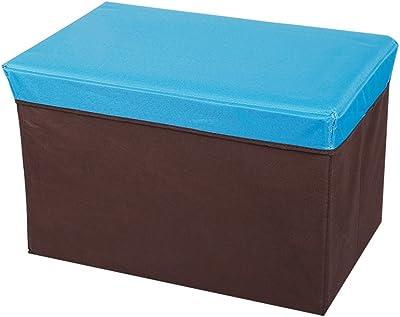 Storage Stool Rectangular, folding, storage box, printing Oxford cloth storage box, storage box (Color : Blue)