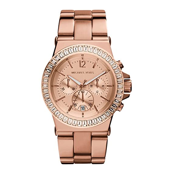 Michael Kors Mujer Oro Rosa Diamante Cronógrafo Reloj: Amazon.es: Relojes