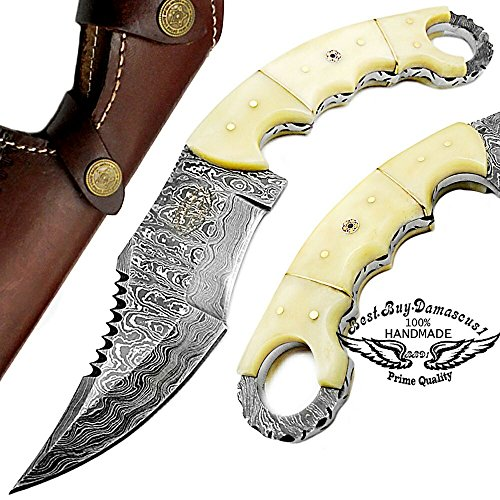 Camel Bone 9.5'' Fixed Blade Custom Hand Made Damascus Steel Hunting Knife 100% Prime Quality with Leather Sheath