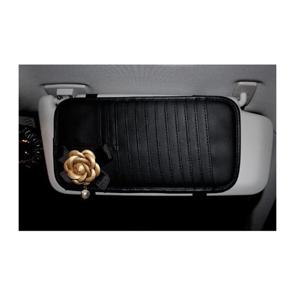 LuckySHD Auto CD Visor Organizer Car CD Visor PU Leather Storage Case Holder with Camellia Decor
