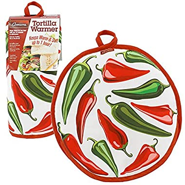 """Tortilla Warmer 10""""- Insulated, Microwaveable Fabric Pouch by Cameron's Products- Keeps Tortillas Heated for up to One Hour (Chilis Design)"""