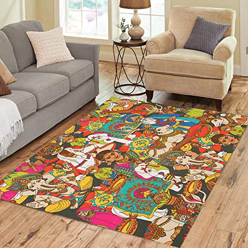 Semtomn Area Rug 5' X 7' Indian Cultural Holy Animals Masks Traditional and Music Instruments Home Decor Collection Floor Rugs Carpet for Living Room Bedroom Dining Room