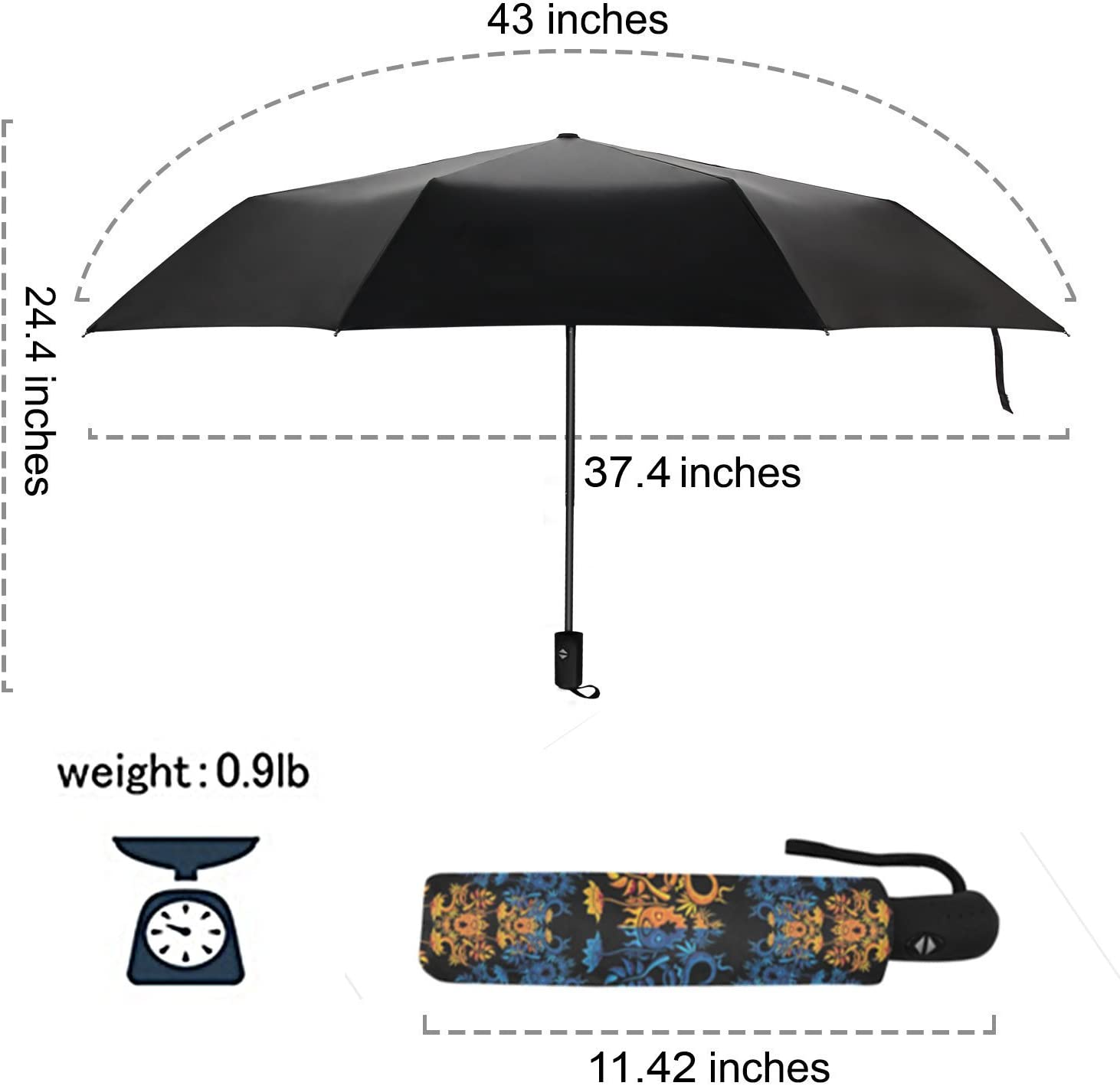 Double Layer Inside Out Folding Umbrella SARA NELL Reverse Inverted Windproof American City Texas Flag Umbrella Upside Down Umbrellas with C-Shaped Handle for Women and Men