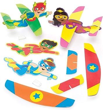 Baker Ross- Planeadores de superhéroes (Pack de 8) - Planeadores para lanzar infantiles perfectos para bolsas sorpresa o como regalo: Amazon.es: Juguetes y juegos