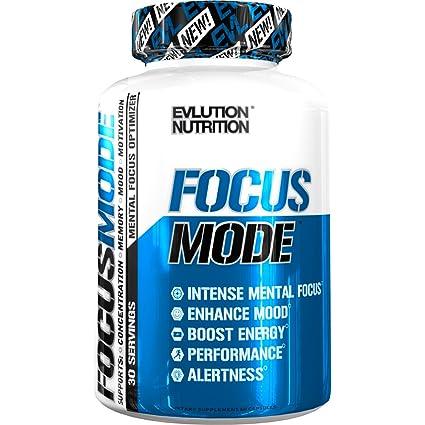Evlution Nutrition Focus Mode, Promueve el Funcionamiento Cerebral Natural - Memoria, Concentración y Claridad