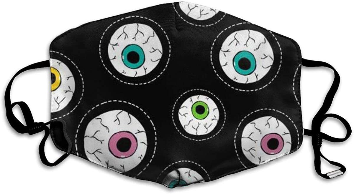 Eyeball with Human Eye Stitch Patch Icons in Vibrant Color Mask Mouth Mask Neck Gaiter Mask Bandana Balaclava Easter St. Patrick's Day