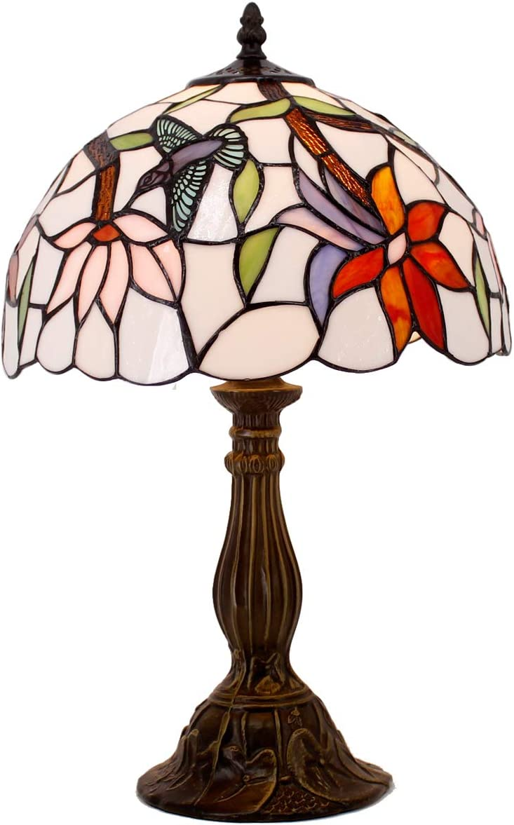 Tiffany Style Table Reading lamp Light Wide 12 Tall 18 Inch Hummingbird Glass Shade E26 Desk Antique Light Resin Base for Girlfriend Living Room Bedroom Bedside S801 WERFACTORY