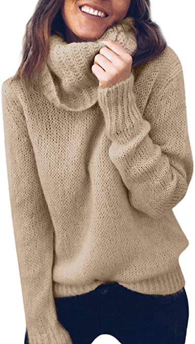 NREALY Sweater Womens Solid Long Sleeve Turtleneck Knitted Sweater Jumper Pullover Top Blouse
