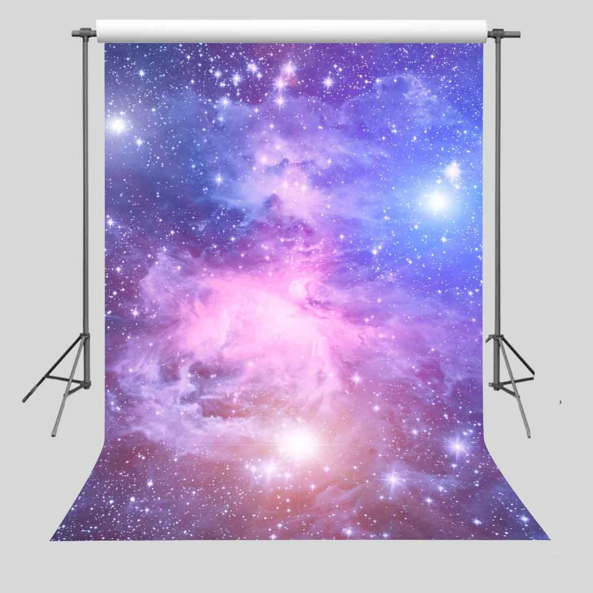 FUERMOR 5x7ft Purple Sky Star Backdrop Photography Props Space Galaxy Background GEFU398