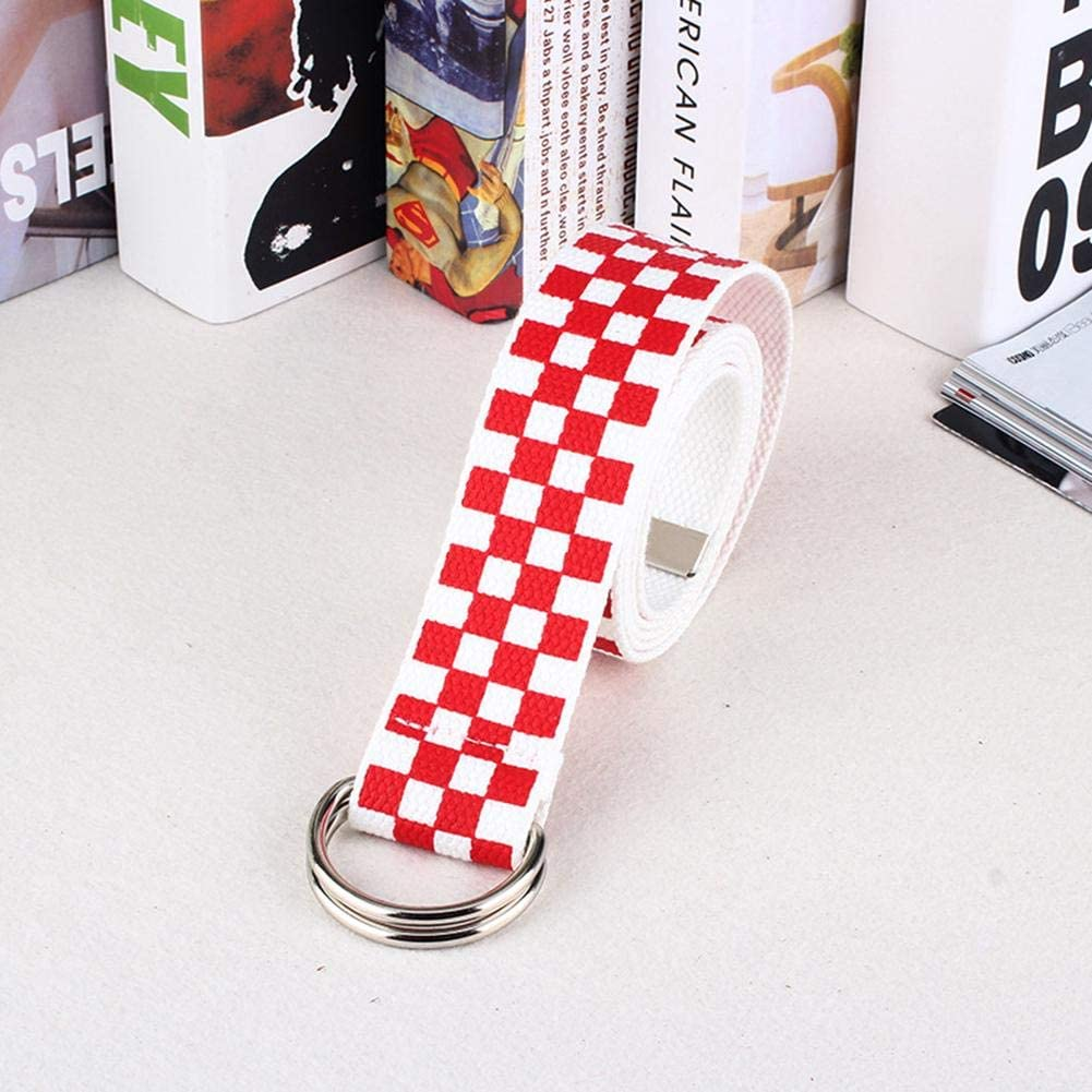 Canvas Checkerboard Belts Adjustable Belt Double D-Ring Silver Buckle 100 Cotton Basic Classic Casual Checkered Style for Men Women Boys Girls