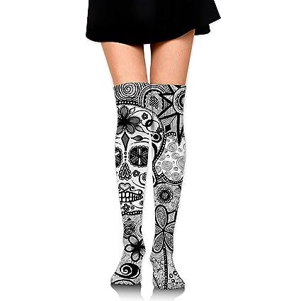 27f3c8efe Amazon.com  GERSWEET Knee High Tube Sports Socks for Girls Women Black White  Doodle Sugar Skull Compression Socks Over Thigh High Long Breathable  Stockings  ...