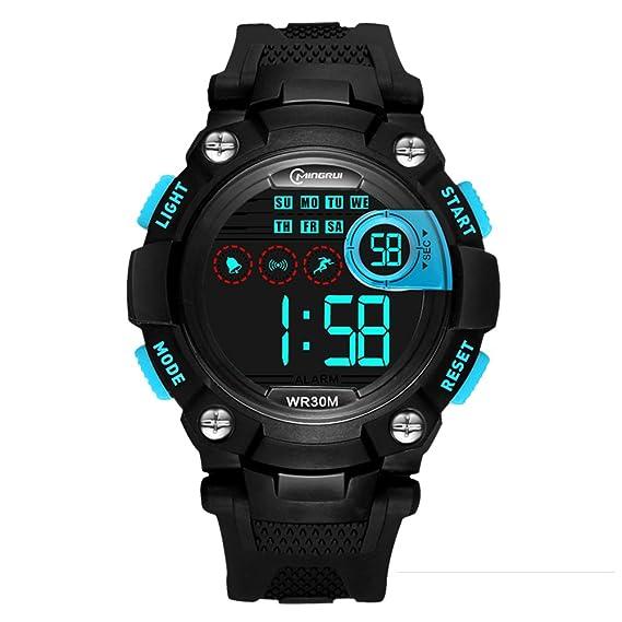 [Niño] Relojes Digitales Impermeable Multifunción Luminoso Running [Movimiento] Estudiantes Reloj Pin Hebilla Correa -A: Amazon.es: Relojes