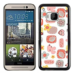 Be Good Phone Accessory // Dura Cáscara cubierta Protectora Caso Carcasa Funda de Protección para HTC One M9 // Cute Pattern Art Kids White