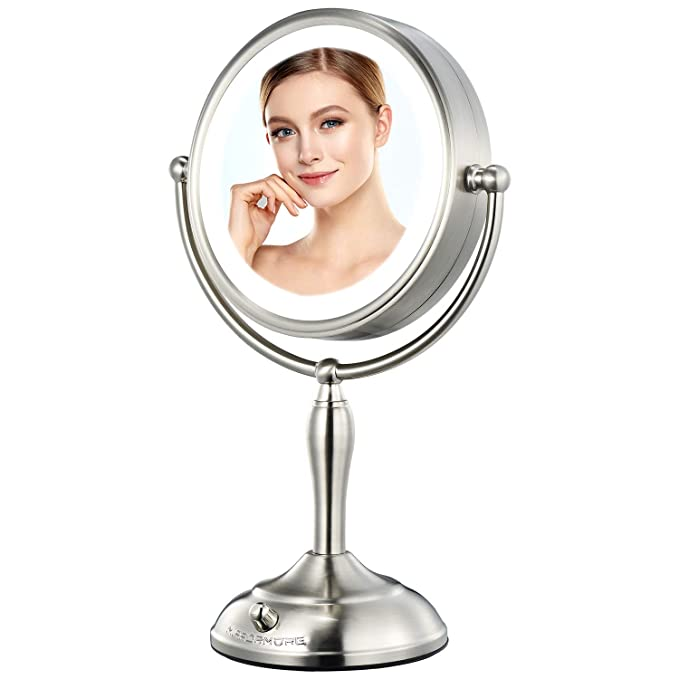 Mirrormore 8 5 Vanity Mirror With Lights 10x Magnifying Mirror With 32 Medical Leds Lights Double Sided Dimmable Lighted Makeup Mirror Cordless Or Plug In Smart Switch Senior Pearl Nickel Beauty