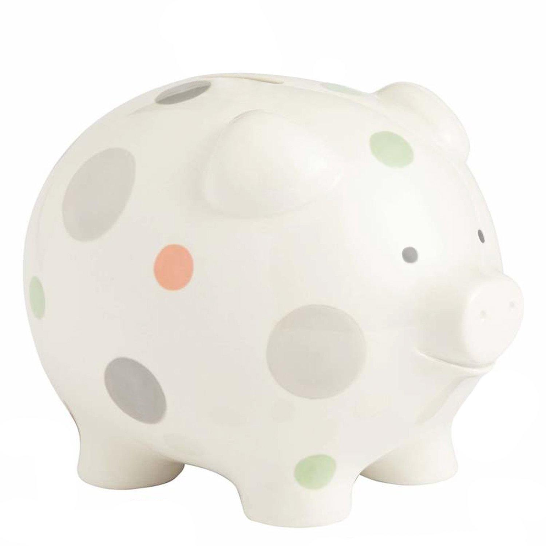 Beginnings by Enesco Big Polka Dot Piggy Bank, 7 inches, Multicolor