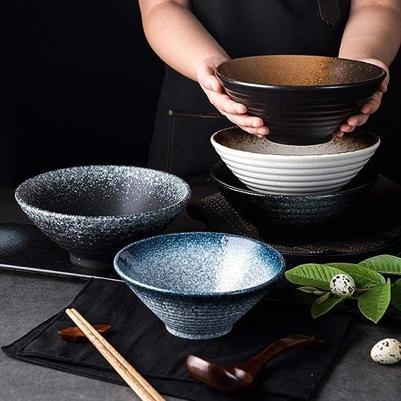 Grand Bol Nouille Japonais 900ml Ramenbowls De Personnalit/é pour Les C/ér/éales Vintage Bol /à Soupe avec Baguettes Nouilles Ap/éritif.(Noir P/âtes MUXUE Bol Ramen en C/éramique
