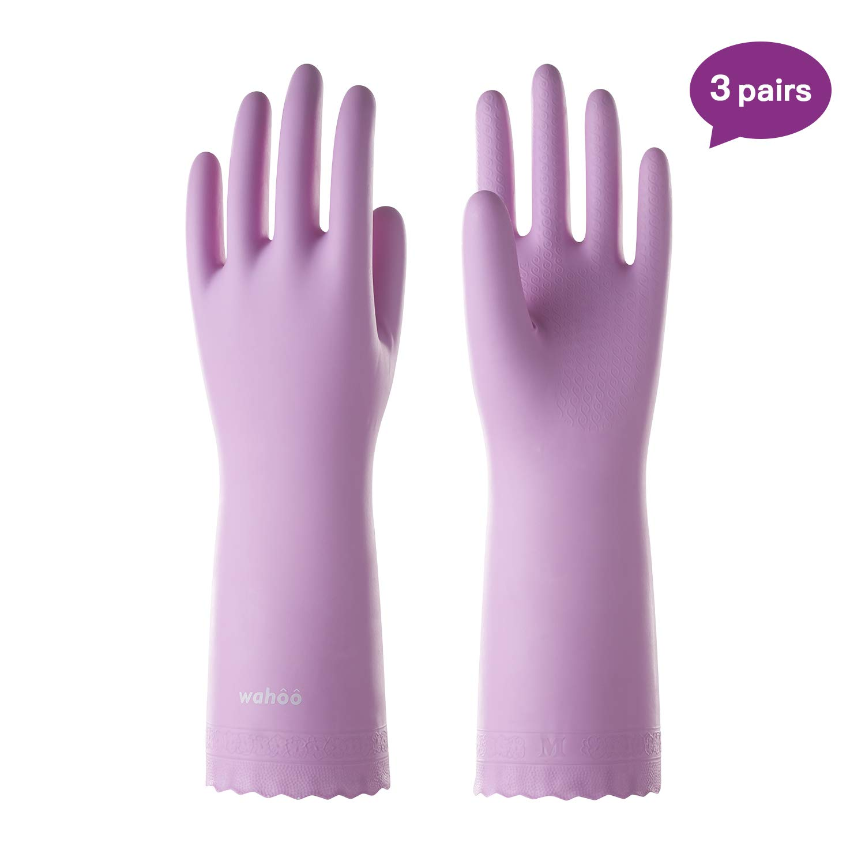 3 Pack Reusable Cleaning Gloves PVC Dishwashing Gloves w/Cotton Flock Liner, Non-slip Household Gloves for Gardening, Laundry, Waterproof, Intertek Listed, Medium, LANON Protection