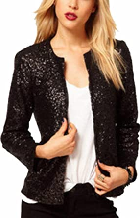 676473a1 GAGA Womens Stylish Solid Round Neck Open Front Sequins Blazer Suit Jacket  Black L